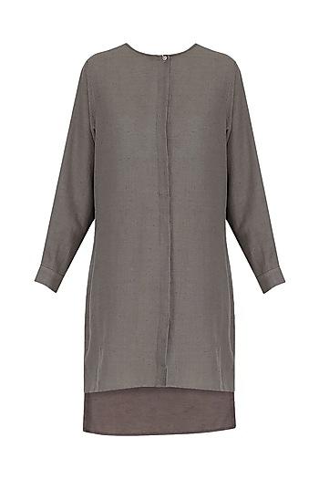 Grey Khadi Short Tunic by Urvashi Kaur