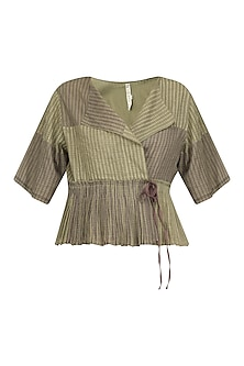 Olive Block Printed Peplum Top by Urvashi Kaur