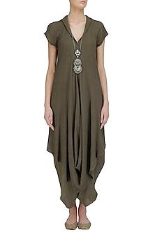 Olive Crinkled Cotton Long Tunic by Urvashi Kaur
