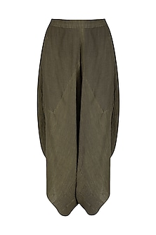 Olive Crinkled Cotton Dhoti Pants by Urvashi Kaur