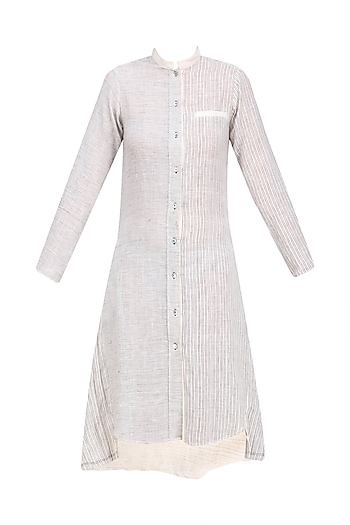 Ecru Color Button Down Tunic Dress by Urvashi Kaur