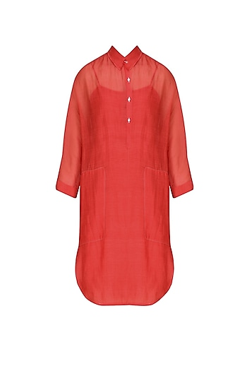 Red Chanderi Silk Shirt Tunic by Urvashi Kaur
