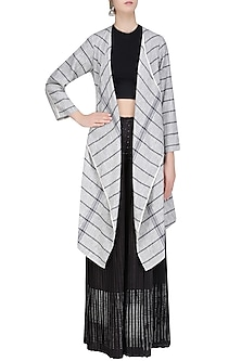 Dark Grey Striped Front Open Jacket by Urvashi Kaur