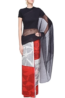 Black, Red and Ecru Tye and Dye Saree by Urvashi Kaur
