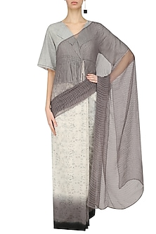 Ecru and Grey Ombre Saree by Urvashi Kaur