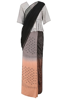 Black, Grey and Blush Printed Saree by Urvashi Kaur