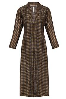 Chocolate Brown Textured Silk Jacket by Urvashi Kaur