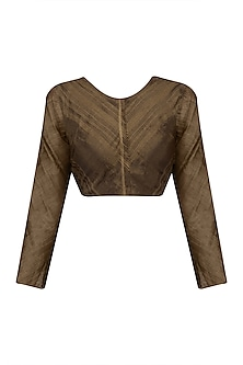 Chocolate Brown Zari Tissue Silk Crop Top by Urvashi Kaur