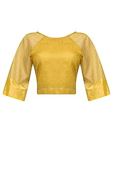 Ochre Polka Block Printed Crop Top by Urvashi Kaur
