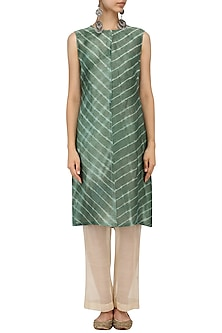 Teal Leheria Shift Dress by Urvashi Kaur