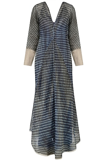 Indigo Leheria Linen Dress by Urvashi Kaur