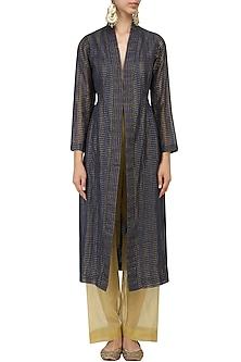 Indigo Textured Zari Silk Jacket by Urvashi Kaur