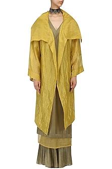 Ochre Oversized Tissue Jacket by Urvashi Kaur