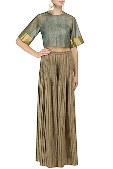 Olive Checkered Pleated Palazzo Pants by Urvashi Kaur