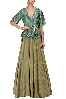 Olive Strip Flared Lehenga Skirt by Urvashi Kaur