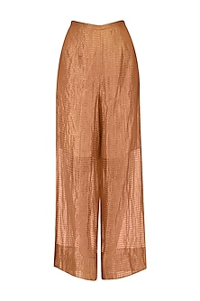 Rust Stripe Tissue Pants by Urvashi Kaur