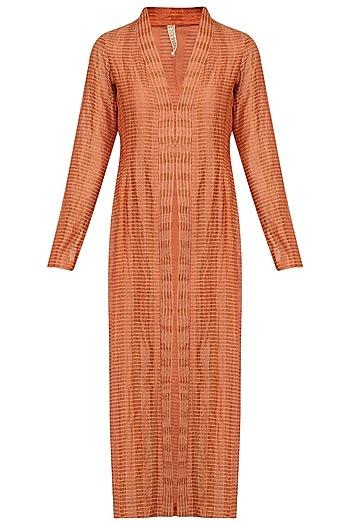 Rust Textured Long Jacket by Urvashi Kaur