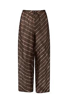 Chocolate Brown Leheria Print Culottes by Urvashi Kaur