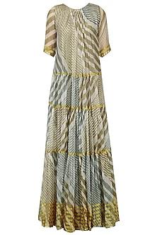 Olive and Teal Leheria Print Pleated Dress by Urvashi Kaur