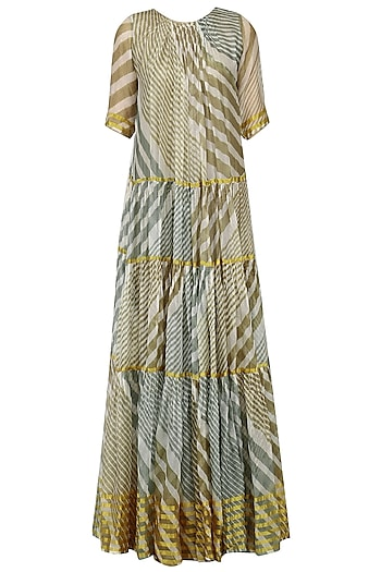 Olive and Teal Leheria Print Pleated Dress by Urvashi Kaur