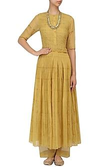 Ochre Pleated Zari Kota Dress by Urvashi Kaur