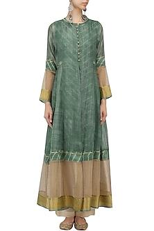 Teal Shibori Kota Silk Jacket by Urvashi Kaur