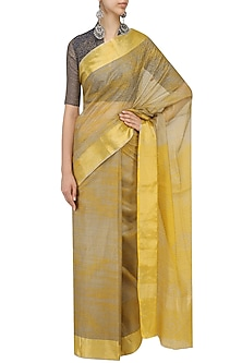 Ochre Polka Dot Block Printed Saree by Urvashi Kaur
