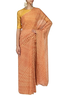 Rust Leheria Tissue Saree by Urvashi Kaur