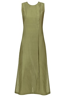 Olive Green Zari Stitch Lines Tunic by Urvashi Kaur