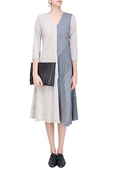 Ecru and Grey Striped Asymmetric Cut Dress by Urvashi Kaur