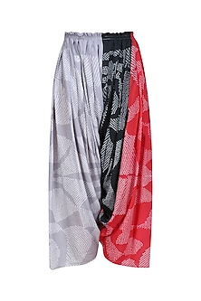 Grey, Ecru and Red Printed Salwar Pants by Urvashi Kaur