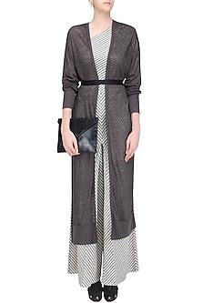 Dark Grey Front Open Linen Long Jacket by Urvashi Kaur