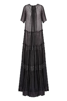Dark Grey Pleated Linen Jacket with Ecru Lining by Urvashi Kaur