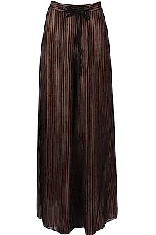 Blush and black striped palazzo pants by Urvashi Kaur