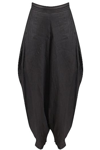 Grey crushed khadi dhoti pants by Urvashi Kaur