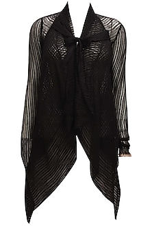 Black front open asymmetric sheer shrug by Urvashi Kaur