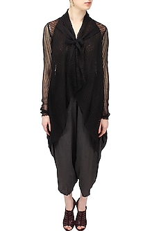 Black front open asymmetric sheer shrug by Urvashi Kaur