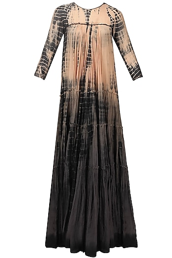 Blush and grey tie and dye ombre dress by Urvashi Kaur
