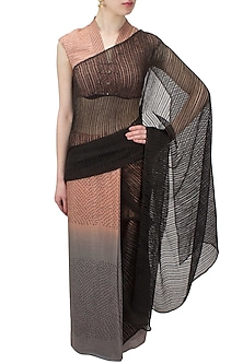 Blush and grey shibori printed ombre saree by Urvashi Kaur