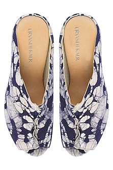 Blue And Ecru Batik Print Peep Toe Wedges by Urvashi Kaur