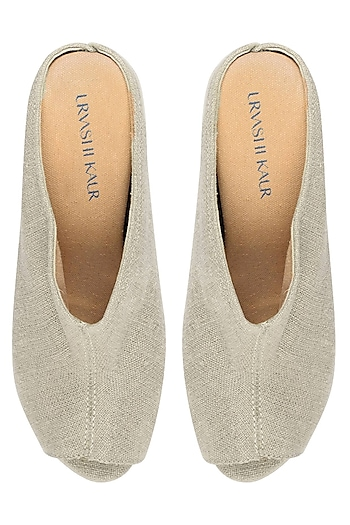 Nude Linen Peep Toe Wedges by Urvashi Kaur