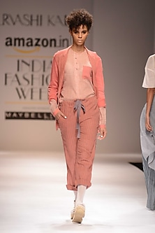 Pink and Rust Chino Pants by Urvashi Kaur