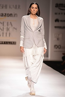 Ecru and Grey Sheer Tunic by Urvashi Kaur