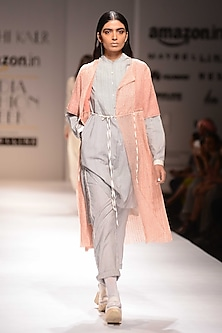 Pink Sheer Long Jacket by Urvashi Kaur