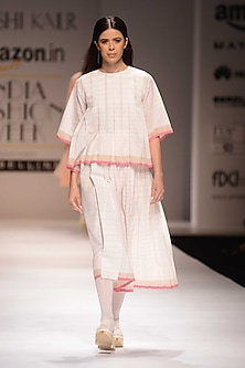 Ecru and Pink Pleated Top by Urvashi Kaur