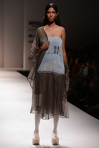 Grey Front Open Long Shrug by Urvashi Kaur