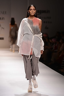 Grey and Pink Ombre Shaded Dress by Urvashi Kaur