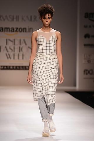 White and Black Checkered Dress by Urvashi Kaur