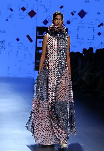 Multi coloured block dye printed dress by Urvashi Kaur
