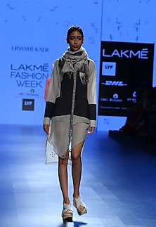 Ecru and grey panel stich line tunic by Urvashi Kaur